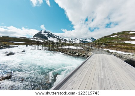 bridge over troubled water in Norway - stock photo