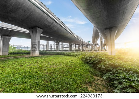 bridge overpass of shanghai china. - stock photo