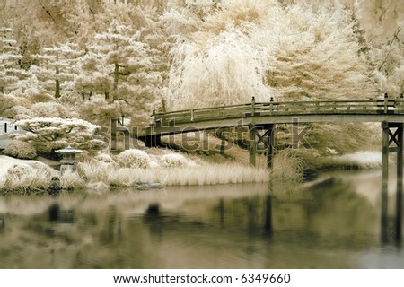 Bridge to a Japanese Garden in Infrared. - stock photo