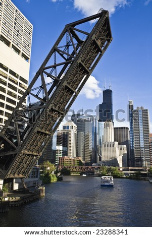 Bridge to Downtown - Chicago, IL. - stock photo