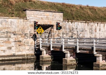 Bridge to tunnel at Fort Monroe in Hampton, Virginia - stock photo