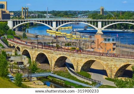 Bridges of downtown Minneapolis. - stock photo