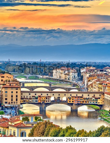 Bridges over Arno river at sunset, Florence, Italy - stock photo