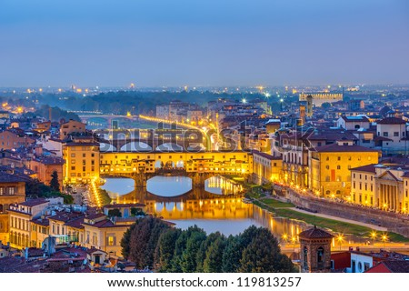 Bridges over Arno river in Florence - stock photo