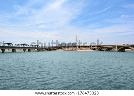 Bridges over Tempe Town Lake in Tempe, Arizona USA - stock photo