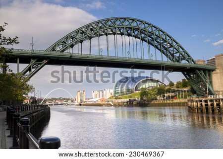 Bridges over the river Tyne, Newcastle,England on a bright sunny day - stock photo