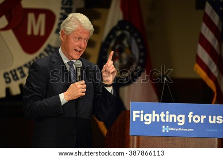 Bridgeton, MO/USA - March 08, 2016: Bill Clinton speaks to supporters at political rally for wife and presidential democratic candidate Hillary Clinton, at District 9 Machinists Hall in Bridgeton. - stock photo