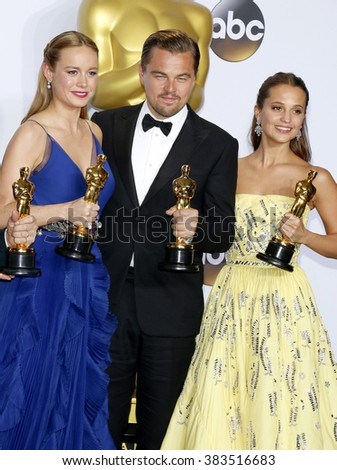 Brie Larson, Leonardo DiCaprio and Alicia Vikander at the 88th Annual Academy Awards - Press Room held at the Loews Hollywood Hotel in Hollywood, USA on February 28, 2016. - stock photo
