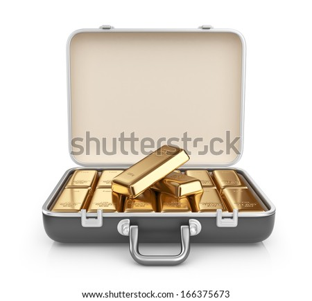 Briefcase full of gold bars. 3D Icon isolated on white background - stock photo