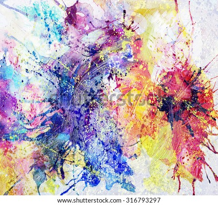 bright abstract background painted with oil paints - stock photo