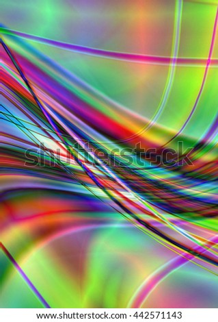 Bright abstract  background with intersecting illuminated stripes and waves - stock photo