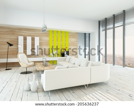 Bright airy living room with rustic decor with wood veneered walls, white painted floorboards, modern white lounge suite and chair , yellow accents, and large floor-to-ceiling windows along one wall - stock photo