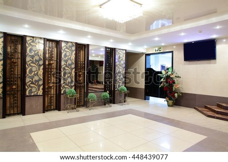 bright and beautiful entrance to european restaurant - stock photo