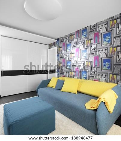 bright and beautiful interior of children room - stock photo