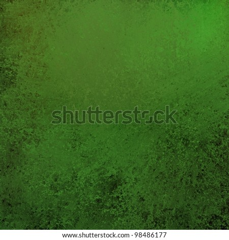 bright and dark green and black background for spring or summer with vintage grunge texture and yellow highlights in corner of top border and copy space for St. Patrick's day or Christmas holidays - stock photo