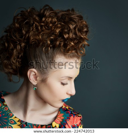 Bright and deep colors make-up. Glamorous young chic.  - stock photo