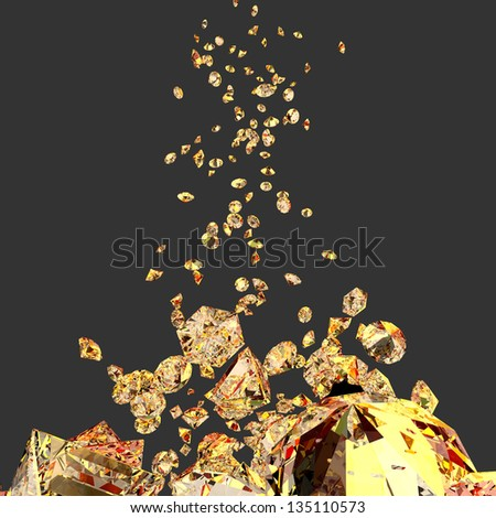 bright and glossy gem stones with yellow and red reflections - stock photo