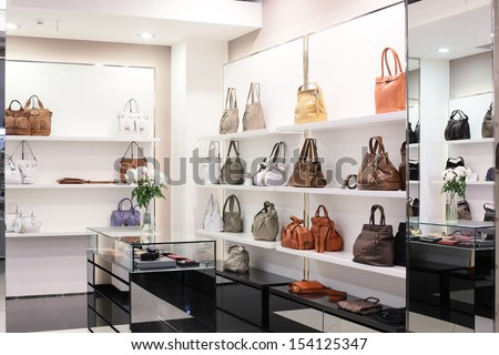 bright and luxury european bag and jewelery store - stock photo