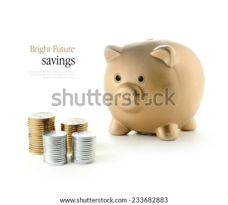 Bright and optimistic concept image for future savings and investments. Copy space.  - stock photo