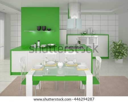 Bright and spacious kitchen with comfortable furniture, 3d rendering. - stock photo