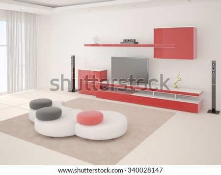 Bright and spacious living room, 3d rendering. - stock photo