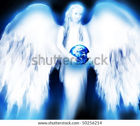 bright angel holding a planet - stock photo