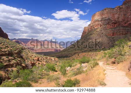 Bright Angel trail in Grand Canyon National Park - stock photo