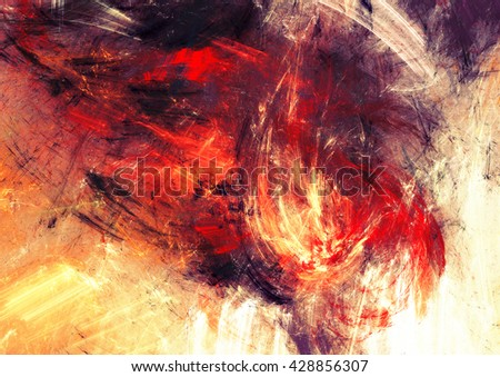 Bright artistic splashes. Abstract painting color texture. Modern futuristic pattern. Shiny multicolor dynamic background. Fractal artwork for creative graphic design - stock photo
