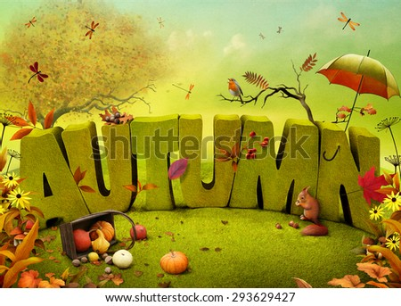 Bright autumn landscape field background for a poster or illustration - stock photo