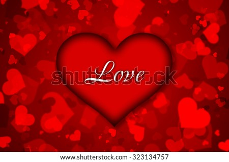 bright background of the heart and an inscription love - stock photo