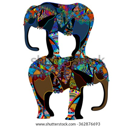 bright background with colored elephants - stock photo