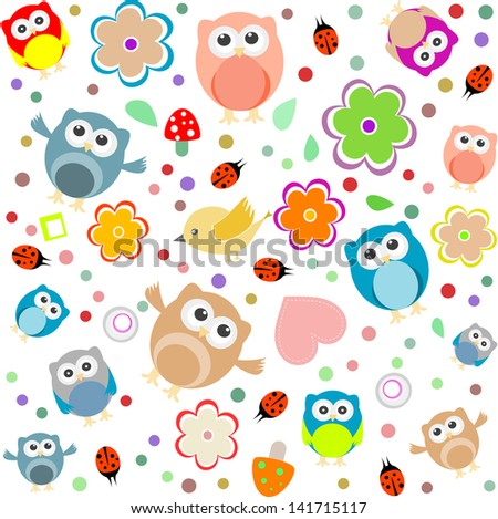 Bright background with owls, leafs, mushrooms and flowers. Seamless pattern, raster - stock photo