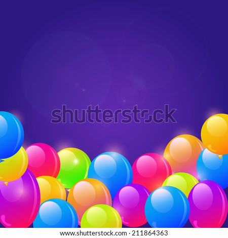 Bright Balloon Frame Background and Place for Text in the Middle - stock photo