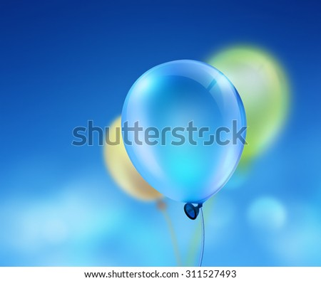 bright balloons on sky background - stock photo