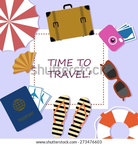 bright banner, elements of summer holiday plane style. - stock photo