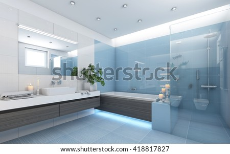 Bright Bathroom In Blue With Candles 3d rendering - stock photo