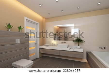 Bright Bathroom With Grey Wood 3d Rendering - stock photo