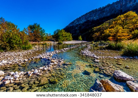 Bright Beautiful Fall Foliage on Large Cypress Trees Lining the Crystal Clear Frio River at Garner State Park, Texas. - stock photo