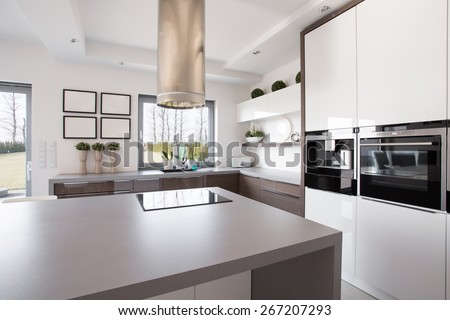 Bright beauty kitchen interior in modern design - stock photo