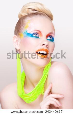 Bright beauty portrait - stock photo