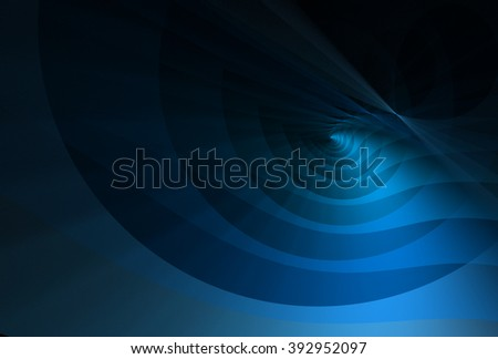Bright blue abstract curved ripple design on black background - stock photo