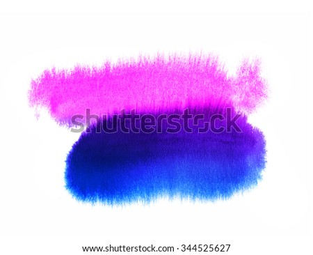 Bright blue and pink abstract watercolor background - stock photo