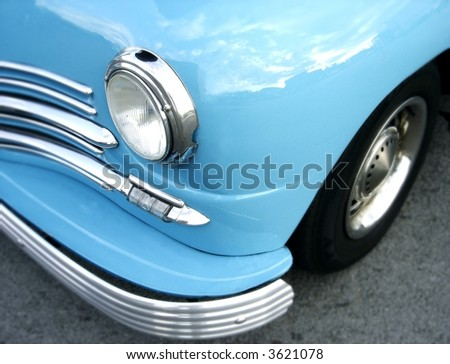 bright blue classic car - stock photo