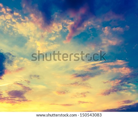 Bright Blue Color Sunset Sky - stock photo