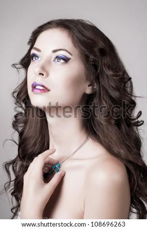 Bright blue eye make-up, beautiful woman portrait, Eyeshadows and lip stick - stock photo