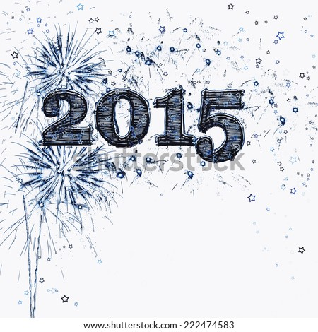 Bright blue fireworks and stars graphic illustration celebrating Happy New Years Eve 2015. . Copy space for your text or just a light airy graphic design element. Multicolored and others  available. - stock photo