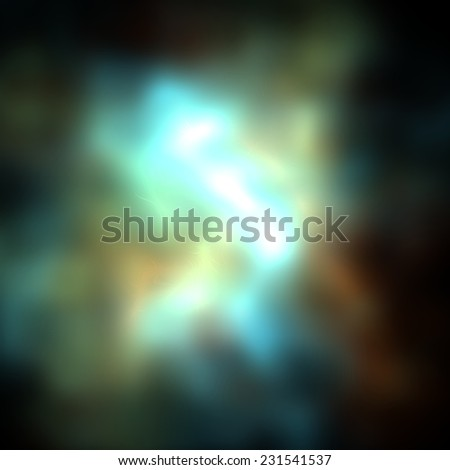 Bright blue glow explosion  in dark space , huge energy release in black background - stock photo
