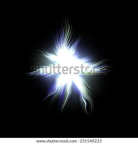 Bright blue glow explosion  of fireworks, huge energy release in black background - stock photo