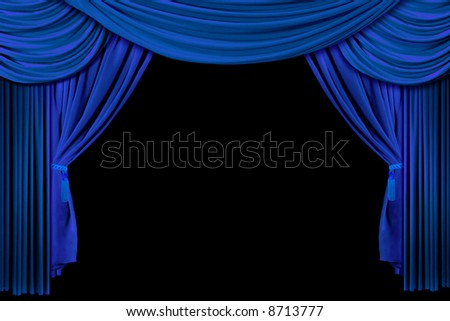 Bright Blue Multi Layered Theatre Drapes on Stage - stock photo