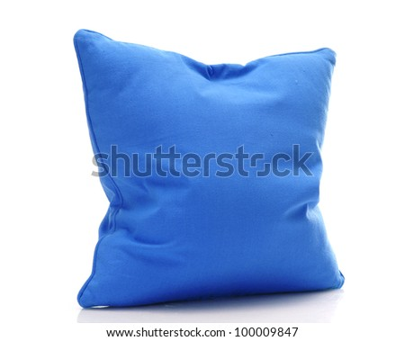 bright blue pillow isolated on white - stock photo